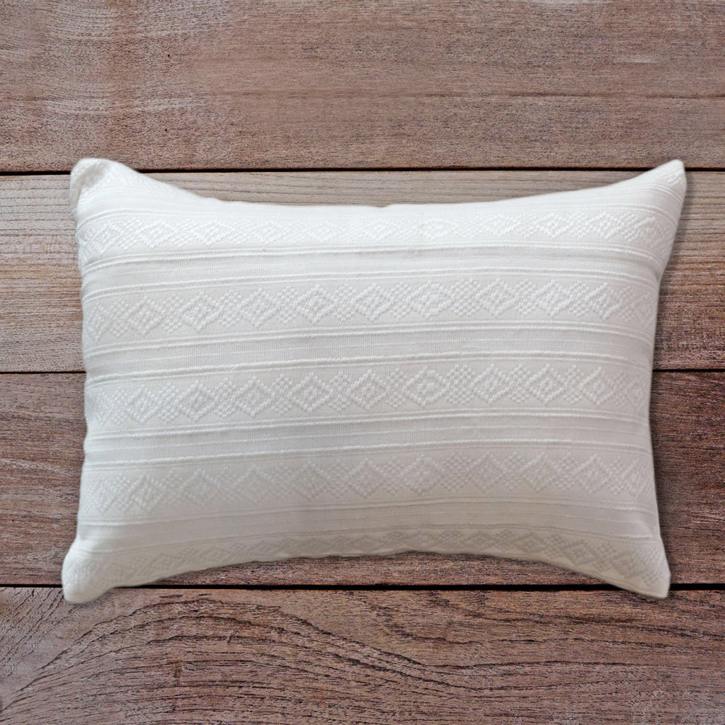 Songket Cushion Cover - white and white  Homewares