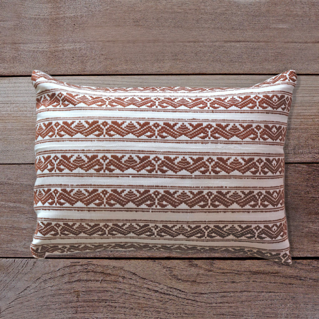 Songket Cushion Cover - Off-white & Copper  Homewares