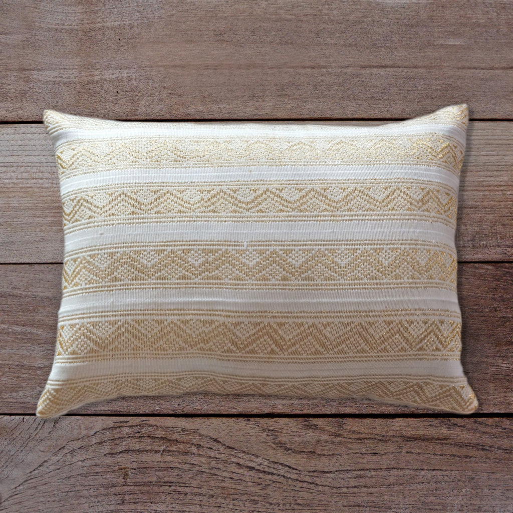 Songket Cushion Cover - white and gold