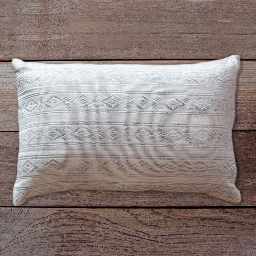 Songket Cushion Cover - white and silver  Homewares