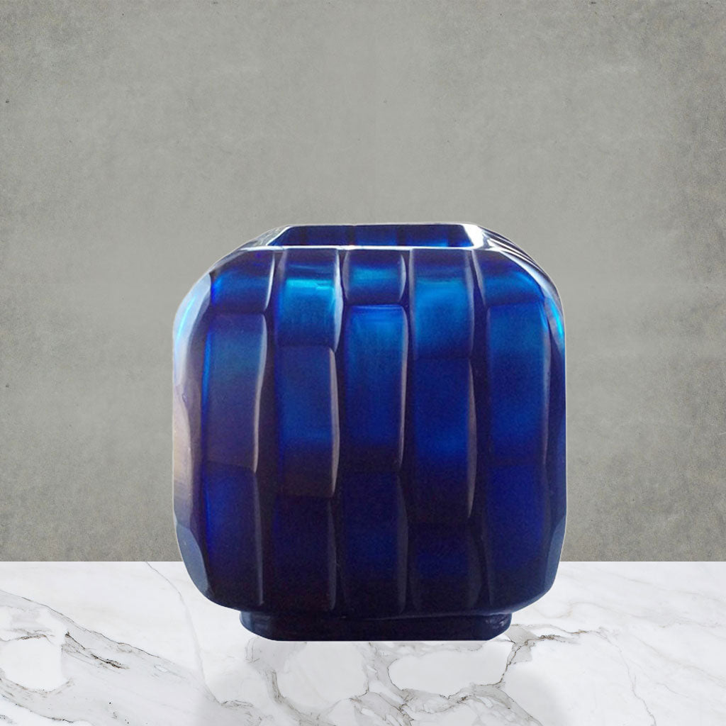 SQUARE Hand-Carved Glass Vase