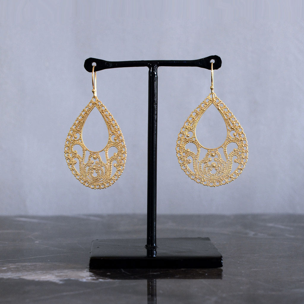 Teardrop Hollow Sterling Silver & 22k Gold-Plated Earrings 22 K Gold Jewellery
