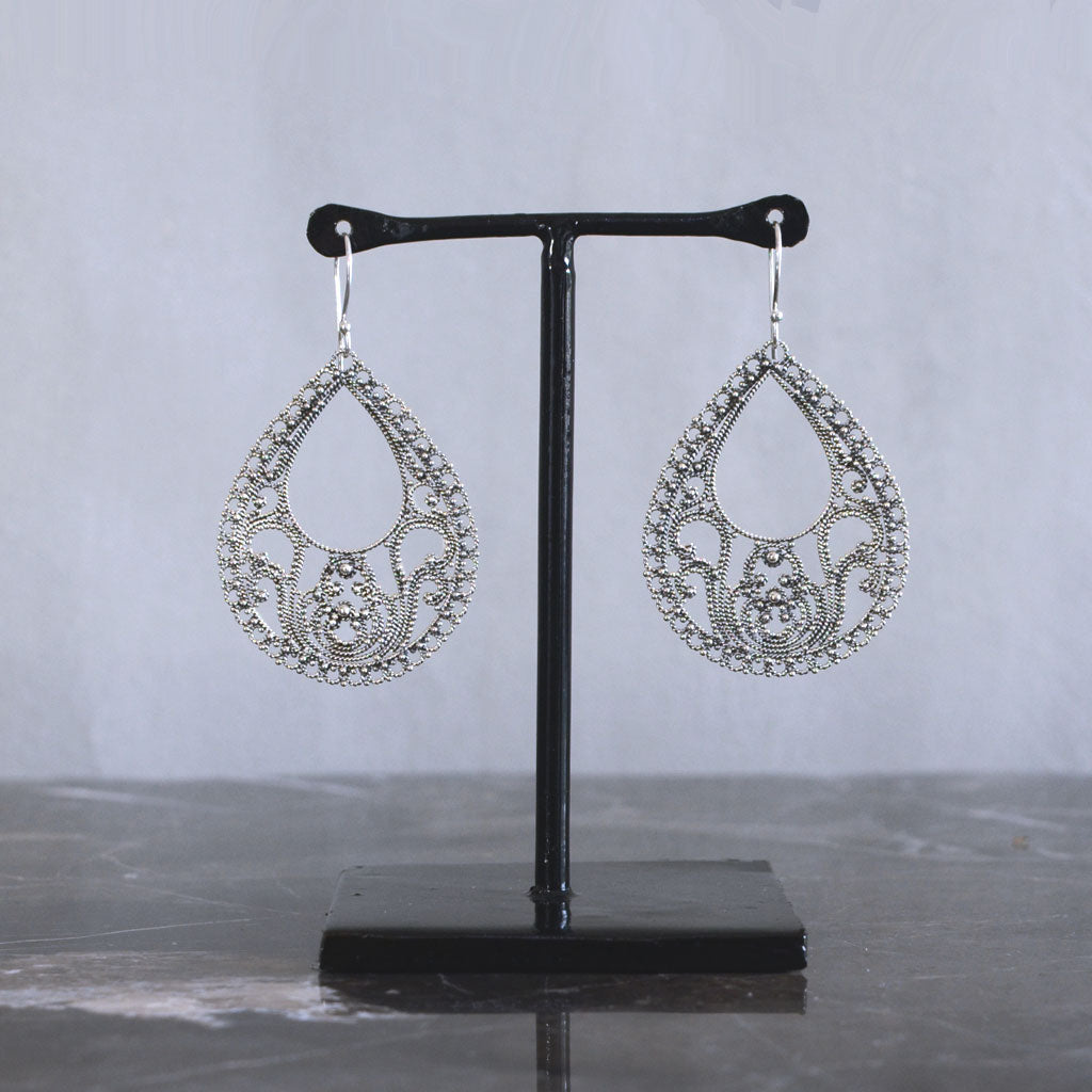 Teardrop Hollow Sterling Silver & 22k Gold-Plated Earrings
