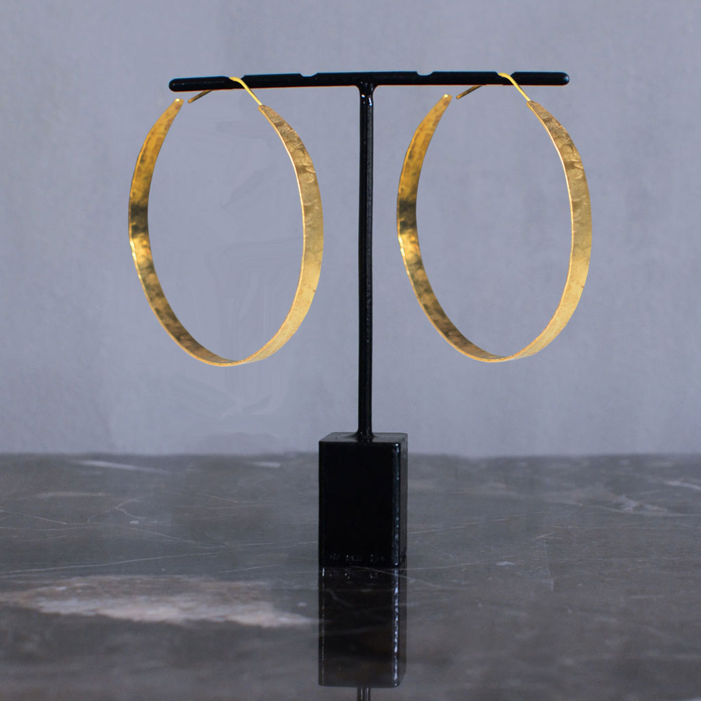 Hindu Wide Hoop Earrings - Gold S Jewellery