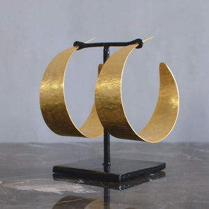 Sally Africa Wide Hoop Earrings - Gold