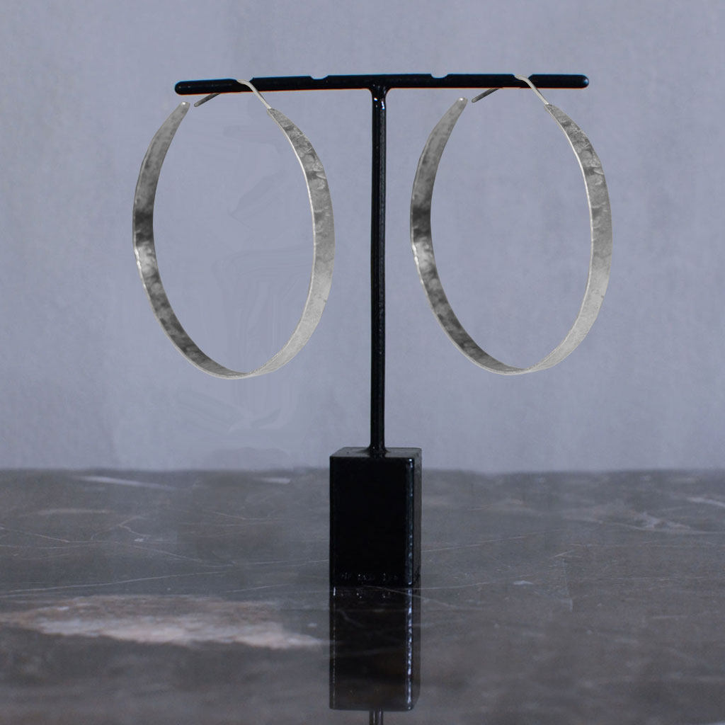 Hindu Wide Hoop Earrings - Silver L Jewellery