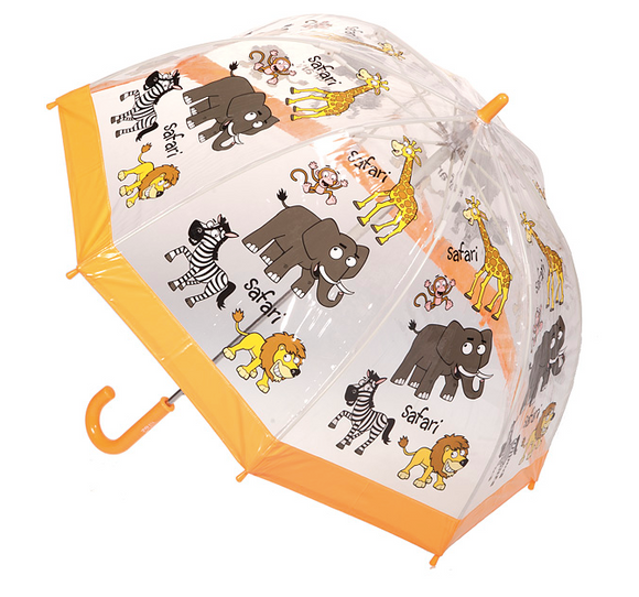 Kids Clear PVC Birdcage Umbrellas - Zoo Animals