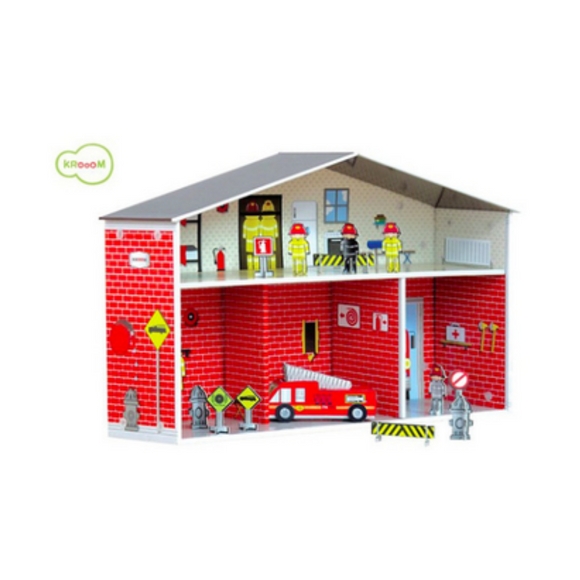 Krooom | Eco Cardboard Fire Station Set