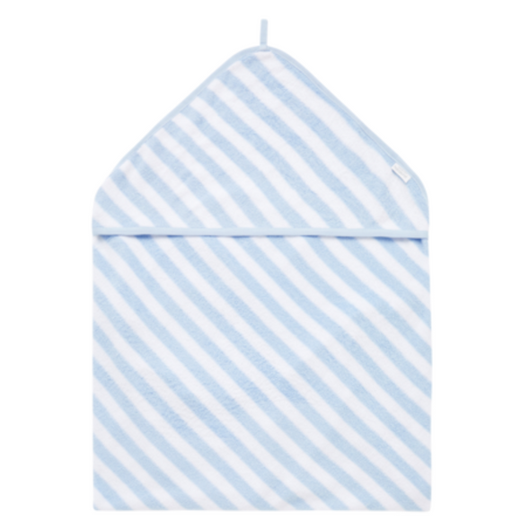 Purebaby Hooded Baby Towel Stripe - Blue