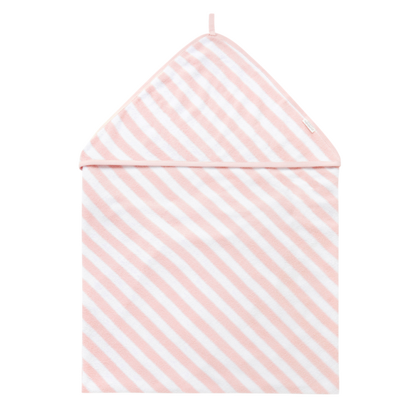 Purebaby Hooded Baby Towel Stripe - Pink