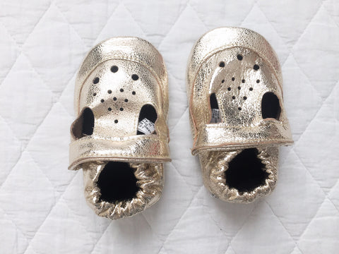 Cheeky Little Soles | Glittery Gold Baby Sandals