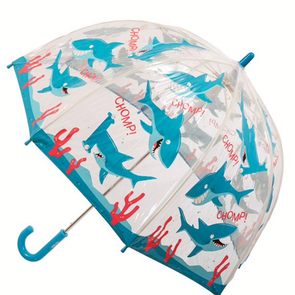 Kids Clear PVC Birdcage Umbrellas - Sharks