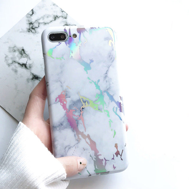 Holographic Laser Marble iPhone Case