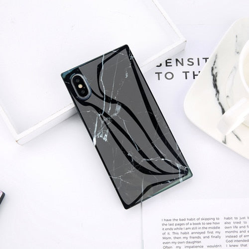SQUARED Black Marble iPhone Case