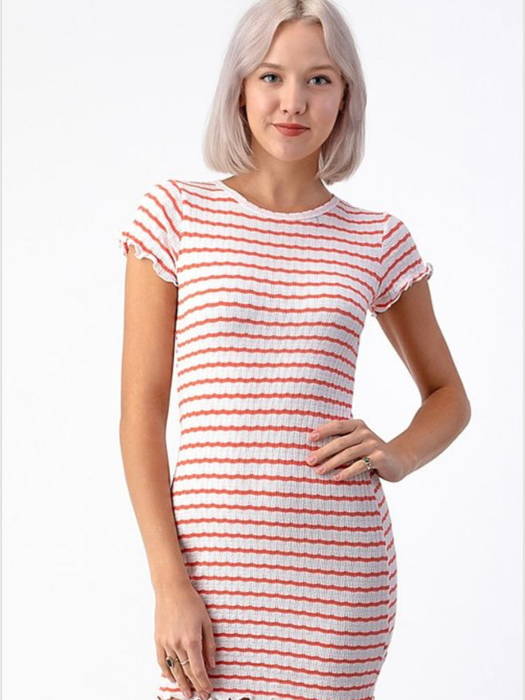 Coral Pointelle Striped Dress
