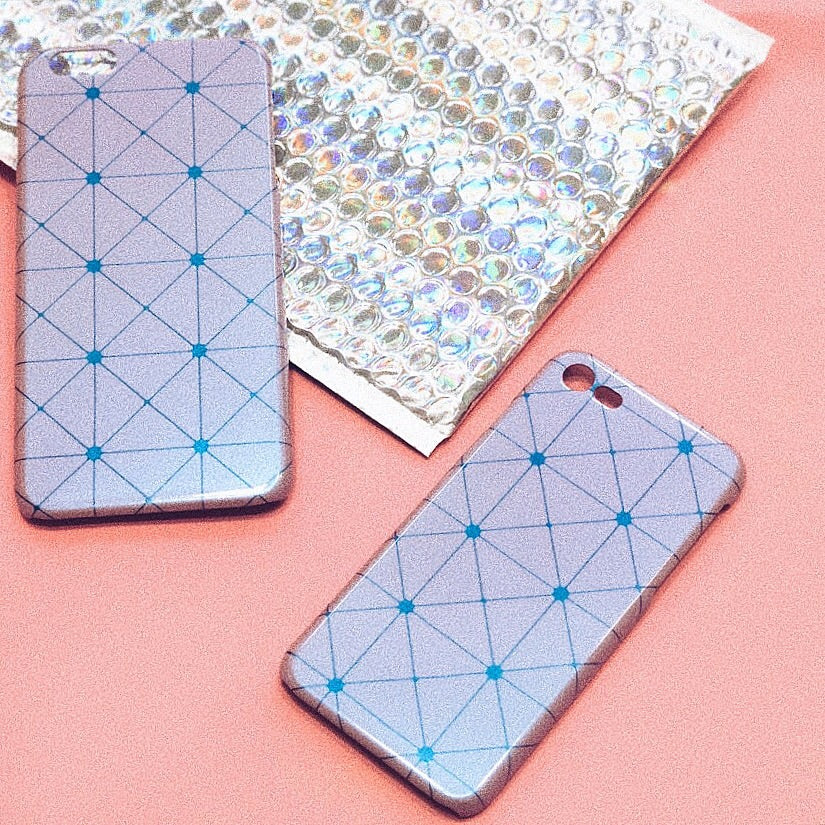 Lavender Grid iPhone Case