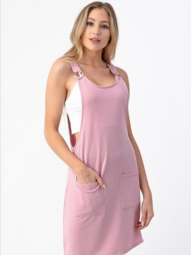 Silk Rose French Terry Overall Dress