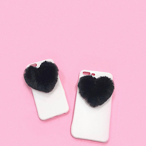 Black Fluffy Heart iPhone Case