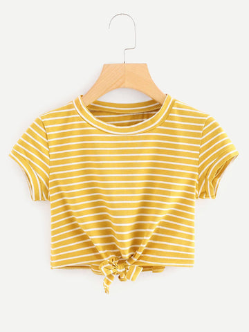 Yellow Striped Twist Front Crop Tee