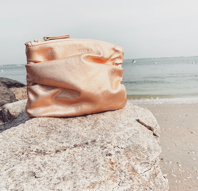The Puff Clutch in Rose Gold Metallic