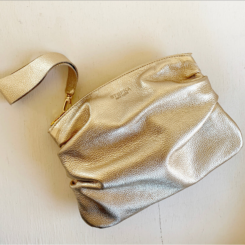 The Puff Clutch in Gold