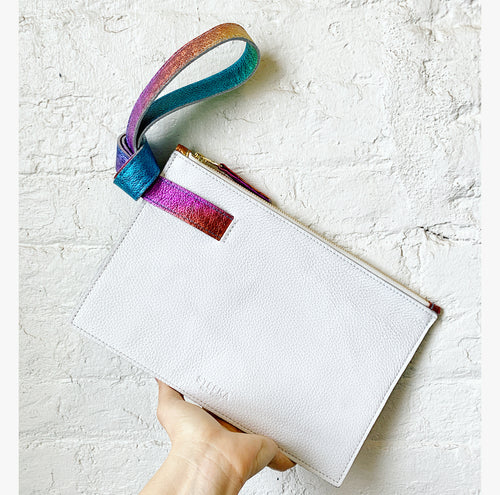 The Stefka Knot Clutch in Rainbow and White