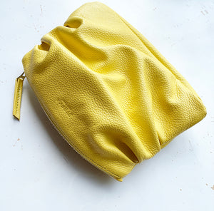The Puff Clutch in Lemon Yellow