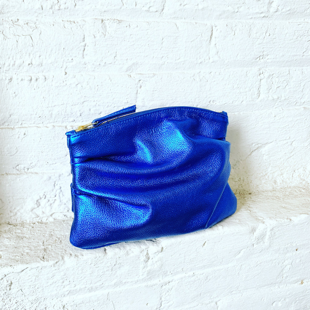 Limited Edition Metallic Cobalt Puff Clutch