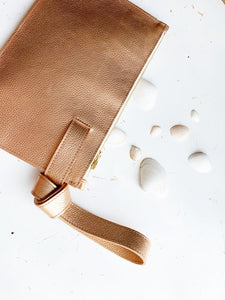 Stefka Knotted Clutch in Gold + Rose Gold