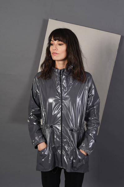 Raincoat | Travel Jacket | Shiny Gray