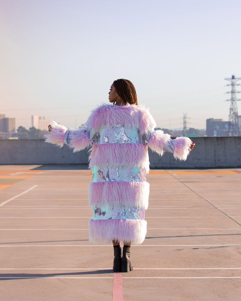 Marshmallow Swirl Fur Jacket