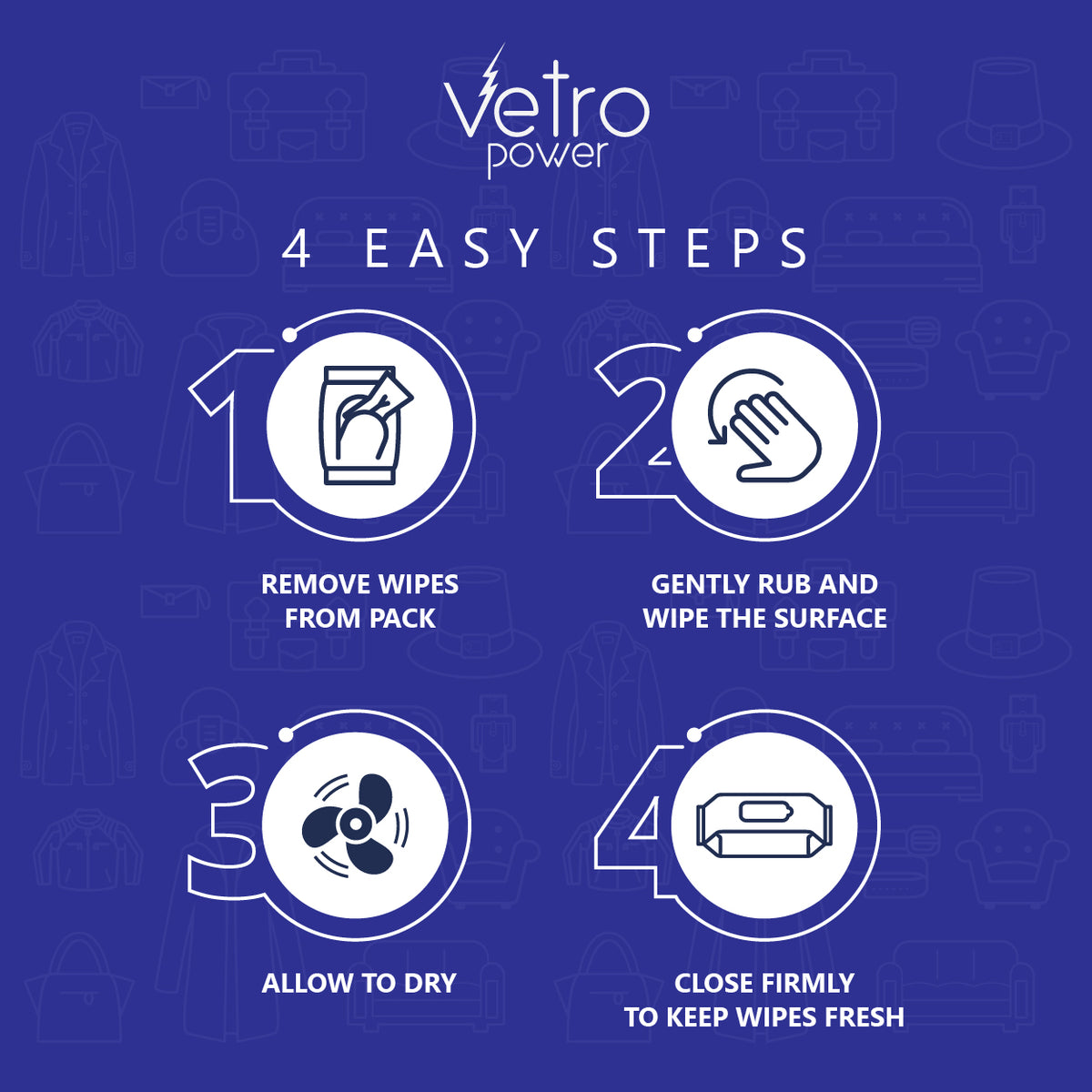 Vetro Power Leather Cleaning and Restoration Wipes Pack of 10