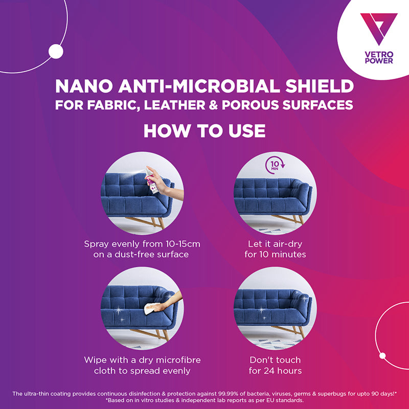 Vetro Power Nano Anti-Microbial Shield 100ml for Fabric & Leather Surfaces How To Use