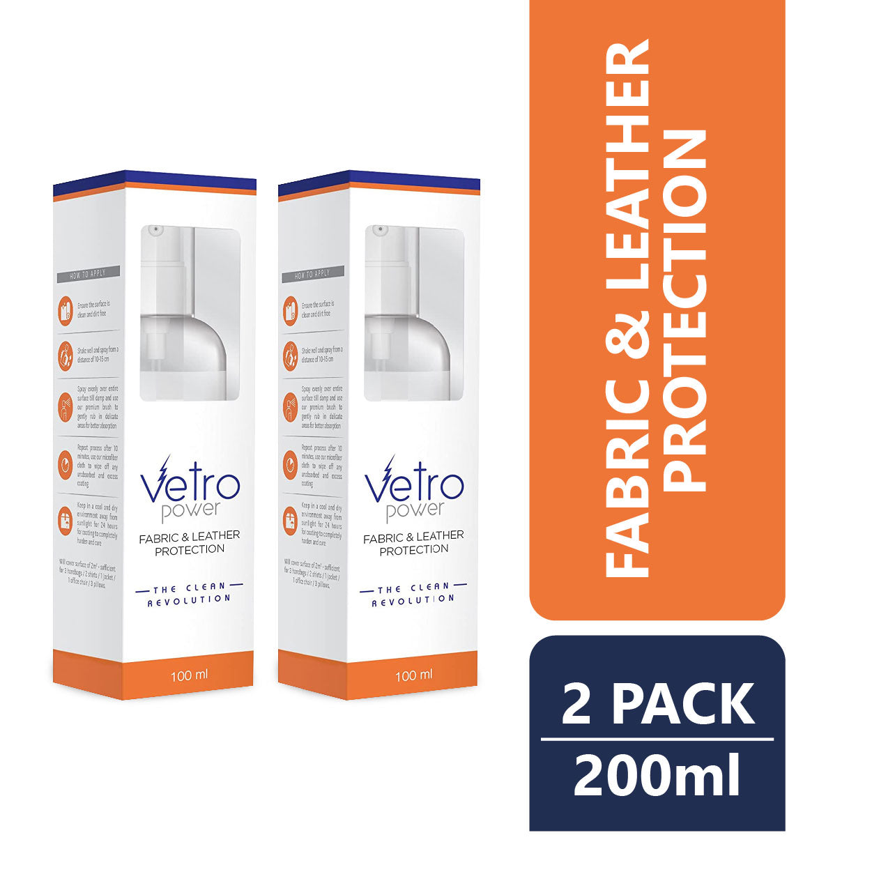 Vetro Power Fabric & Leather Protection 100ml - (Pack of 2)