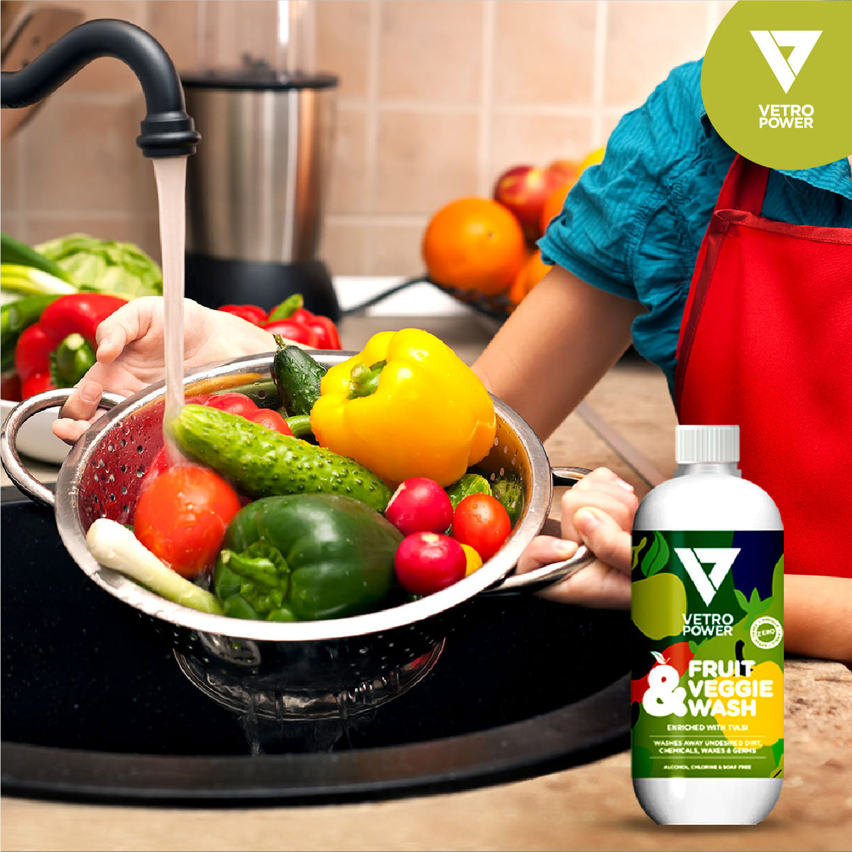 Vetro Power Fruit & Veggie Wash 500ml - Buy 1 Get 1 Hand Wipes (pack of 10) FREE
