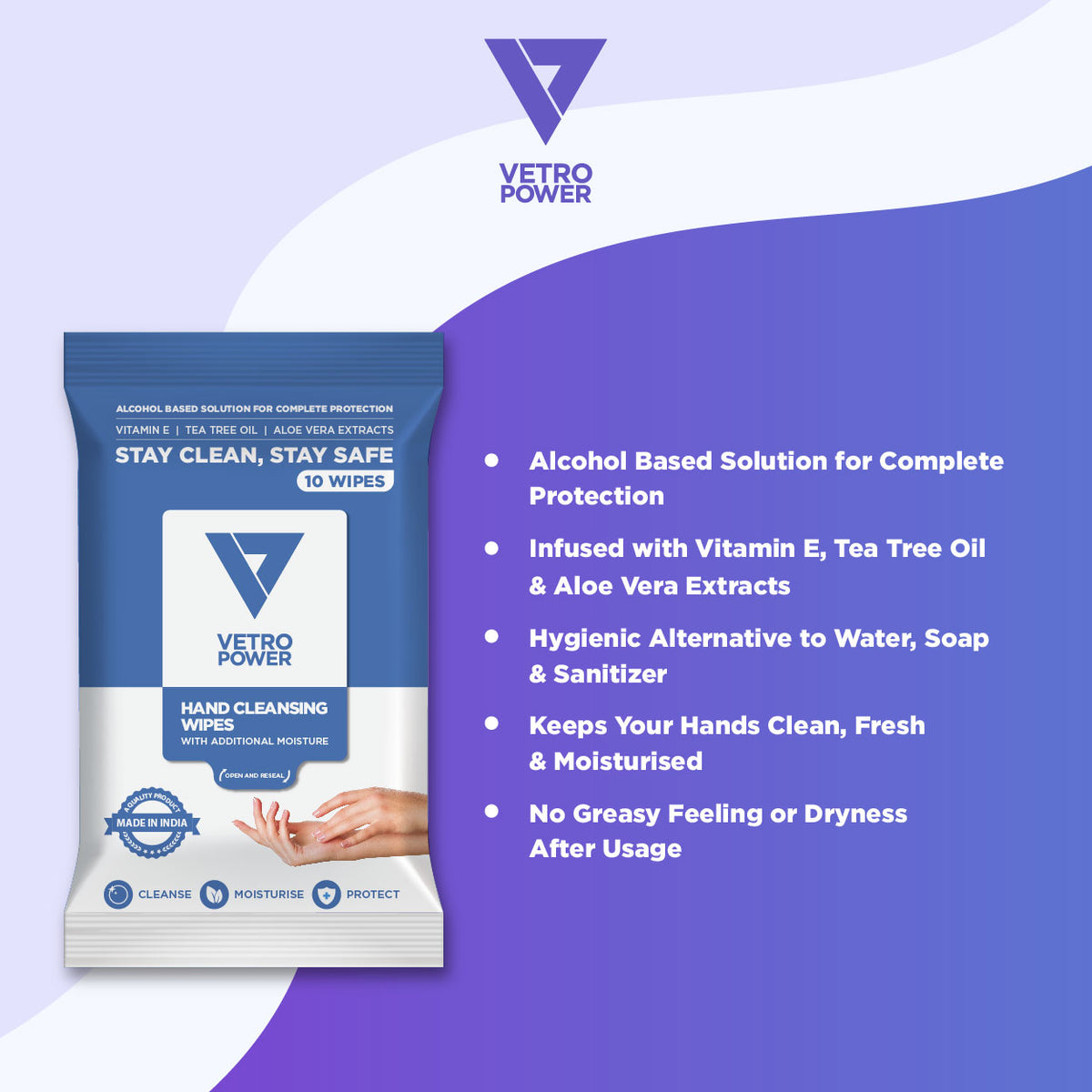 Vetro Power Hand Cleansing Wipes with Aloe Vera, Vitamin E & Tea Tree Oil - 30 Wipes (Pack of 3, 10 each)