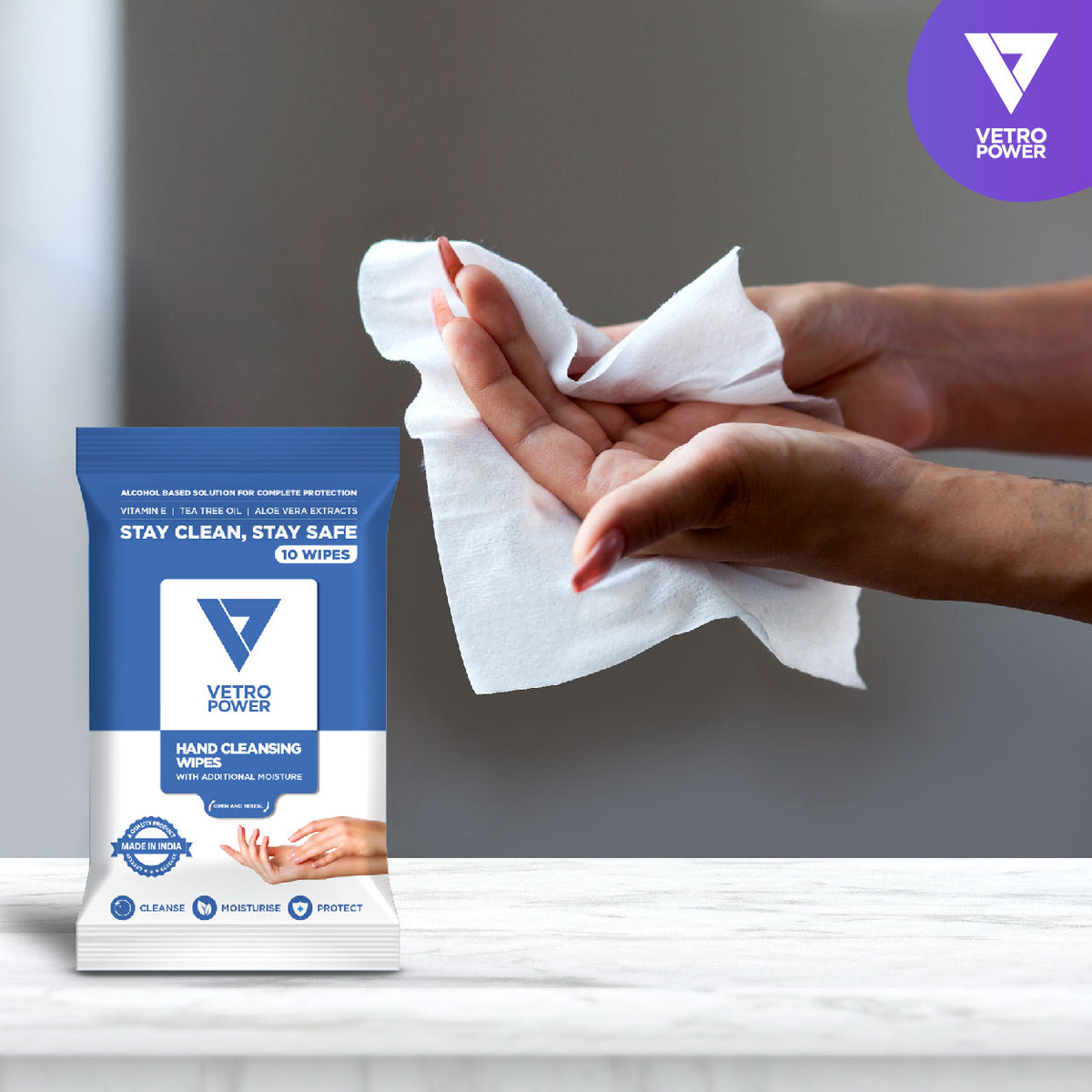 Vetro Power Hand Cleansing Wipes with Aloe Vera, Vitamin E & Tea Tree Oil - 50 Wipes (Pack of 5, 10 each)
