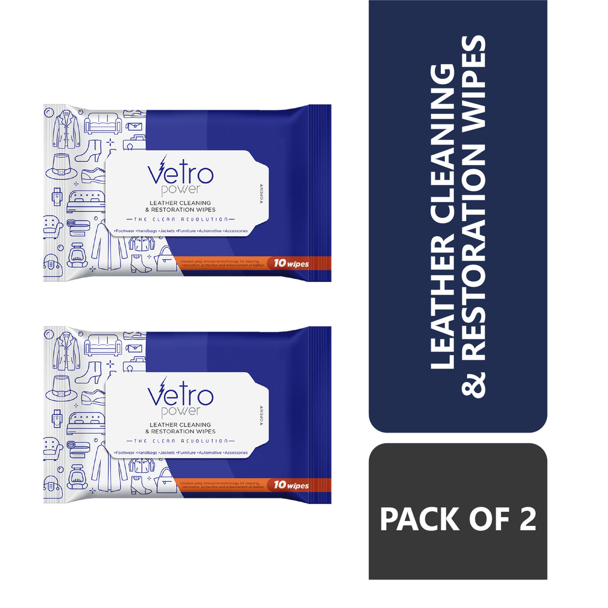 Vetro Power Leather Cleaning and Restoration Wipes Pack of 2