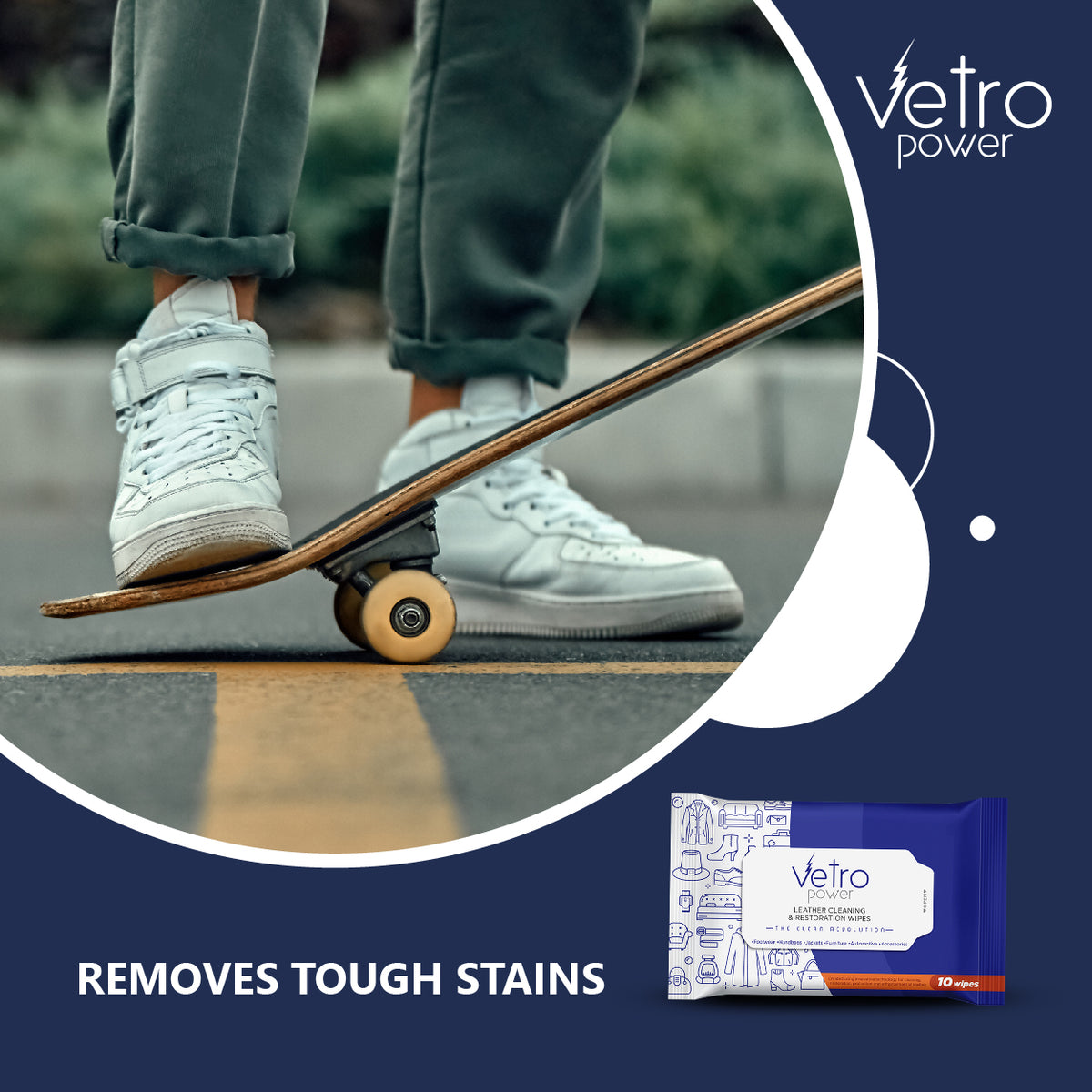 Vetro Power Leather Cleaning and Restoration Wipes Pack of  3