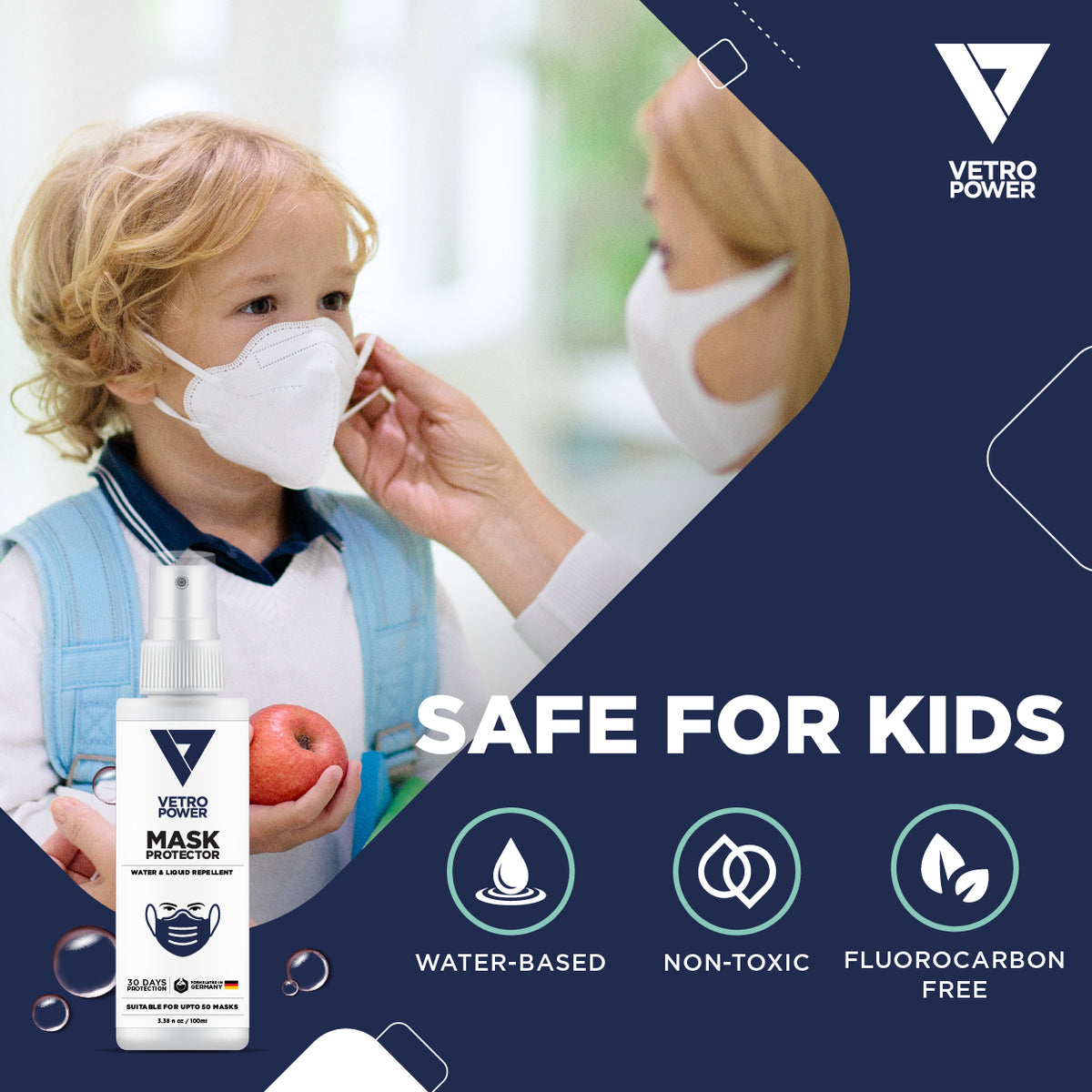Vetro Power Nanotechnology Mask Protector 100ml Safe For Kids