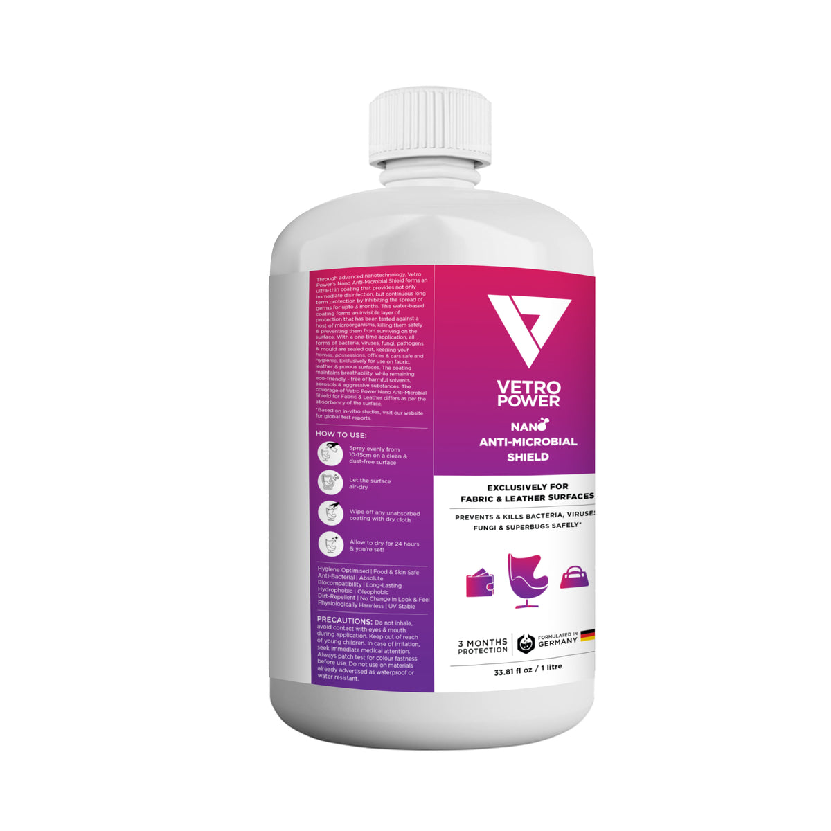 Vetro Power Nano Anti-Microbial Shield 1 Litre for Fabric & Leather Surfaces
