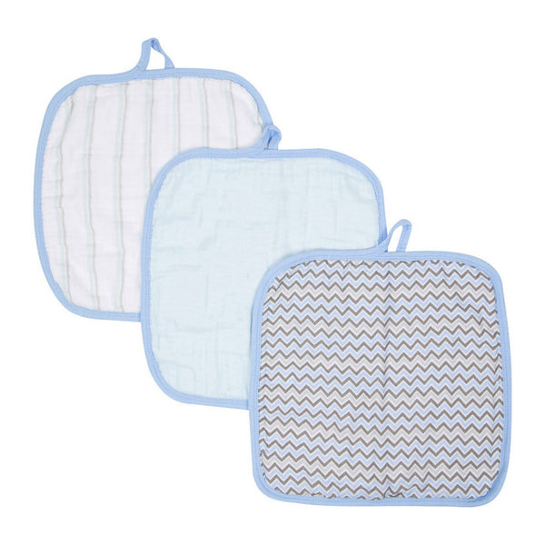 Miracle Blanket - Baby Wash Cloths - 3 Pack Blue Chevron