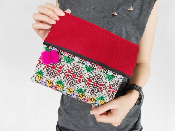 Beautiful Clutch Bag Hand woven fabrics,Tribal Patterned Hill Tribe Handmade. (KPS8215)
