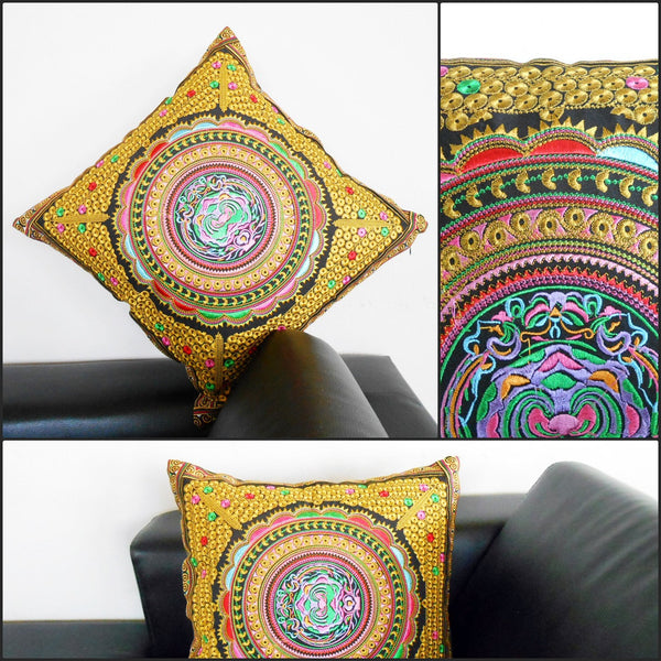 1Pillow Cushion Handmade Exquisite Embroidered, Golden Pillow Cover, Pillowcase