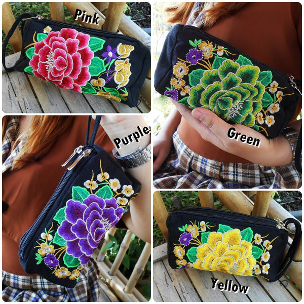 3 Zipper Pencil Bag, Cosmetic Bag 'Flower' Embroidered Hmong Handmade. (KP1049)