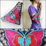 Butterfly Triangle Clutches Bag Embroidered Handmade Chinese Hmong Hill tribe Thailand