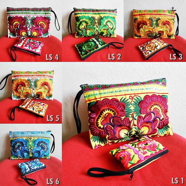 2 Bag Set Boho Style Clutch & Small Zipper Pouch, Coin Purse Embroidery Chinese Hmong Hill tribe Handmade. (LS)