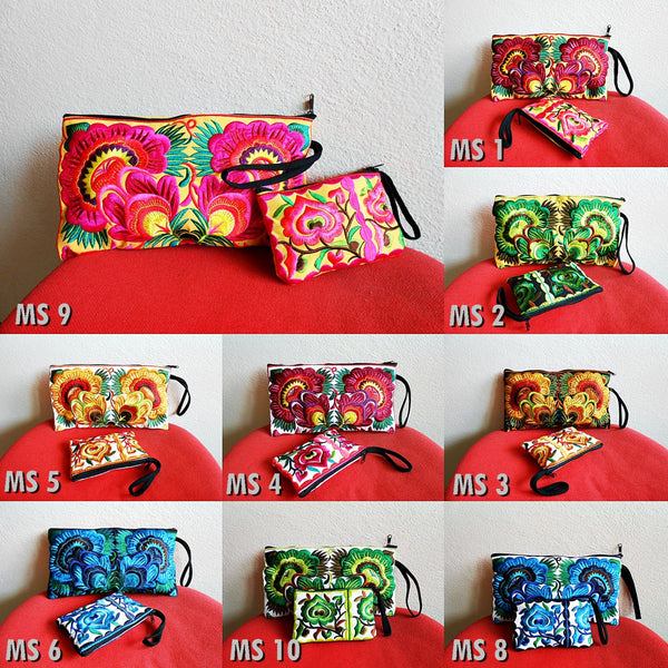 2 Bag Set Clutch Wristlet & Small Bag Embroidery Chinese Hmong Hill tribe Handmade. (MS)