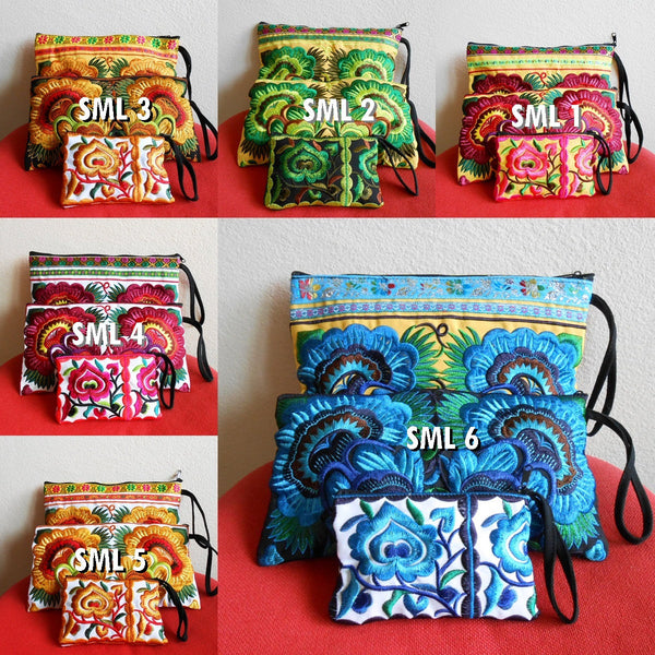 3 Bag Set - Clutch, Wristlet and Small Bag Embroidery Chinese Hmong Hill tribe Handmade (SML)
