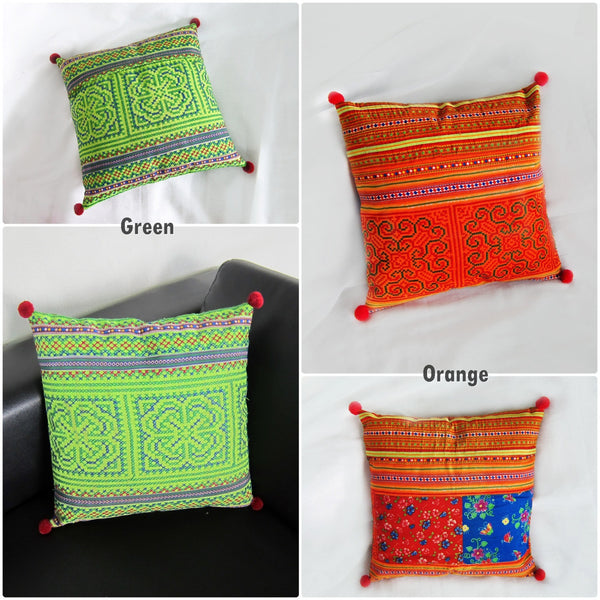 1 Pillow Cushion Handmade Exquisite Embroidered, Pillow Cover, Pillowcase, Hill tribe - Hmong Fabric